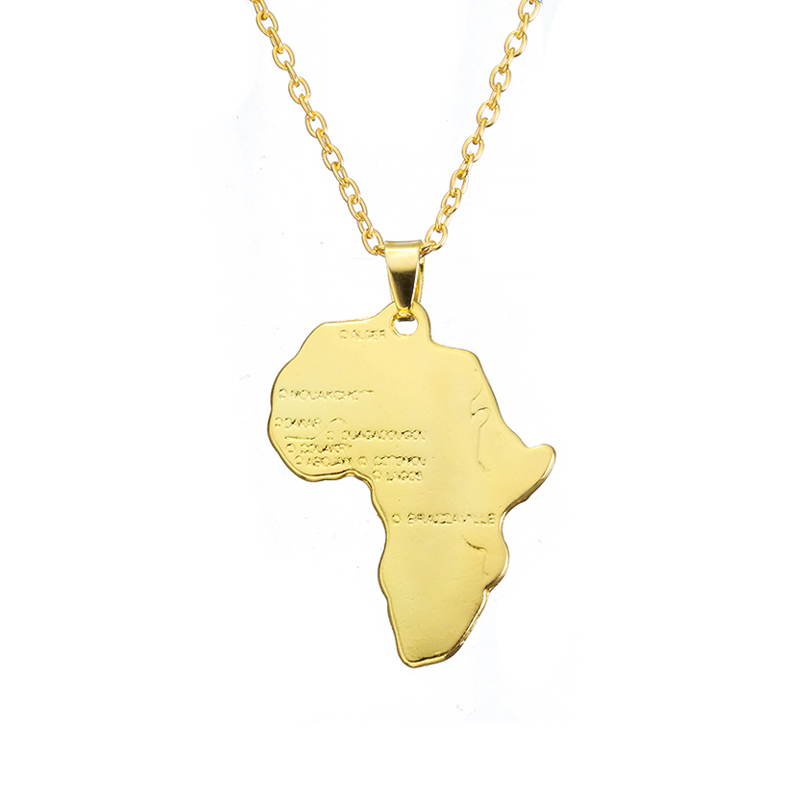ZRM Мода хип хоп Шарм африканские ювелирные изделия для женщин/мужчин подарок Мода кулон Карта Африки ожерелье 30 мм* 37 мм - Окраска металла: Gold Plated
