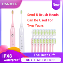 CANDOUR sonic electric toothbrush rechargeable Waterproof 15 Modes IPX8 Replaceable Brush Head Toothbrush Long battery life digoo dg ys11 5 brush modes essence sonic electric wireless usb rechargeable toothbrush ipx7 waterproof with 2 toothbrush head