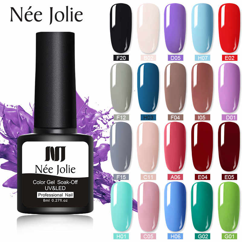 Nee Jolie 8 Ml UV LED Nail Varnish Colorful Gel Lacquer Semi Permanen Gel Cat Kuku Seni Diy desain