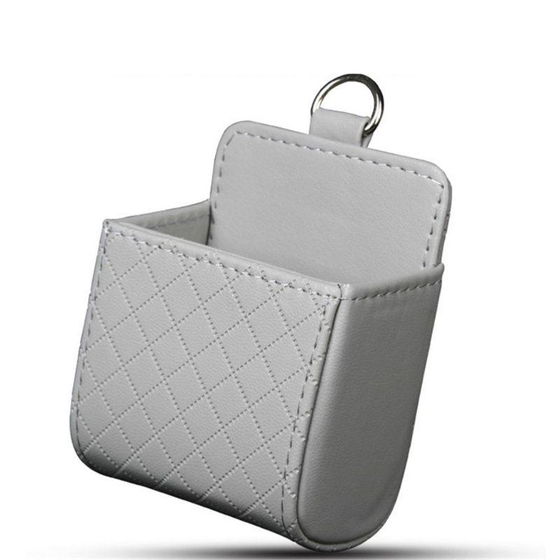 Auto Vent Outlet Trash Box PU Leather Car Mobile Phone Holder Storage Bag Hanging Organizer
