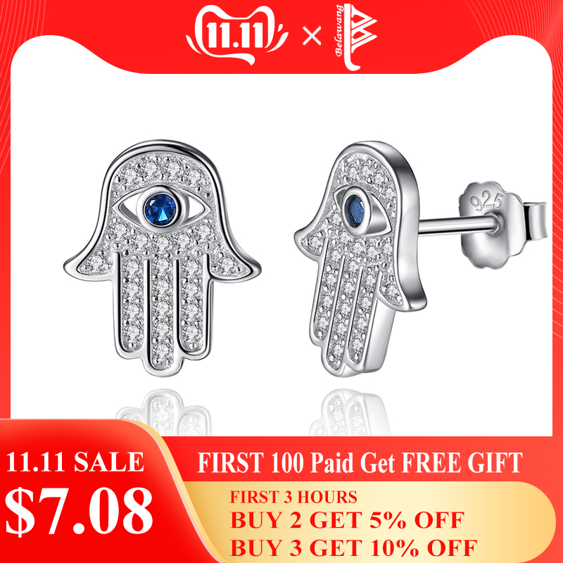 Original 925 Sterling Silver Blue Evil Eye Hamsa Hand Stud Earrings For Women with Clear CZ Crystal Earrings Jewelry Gift