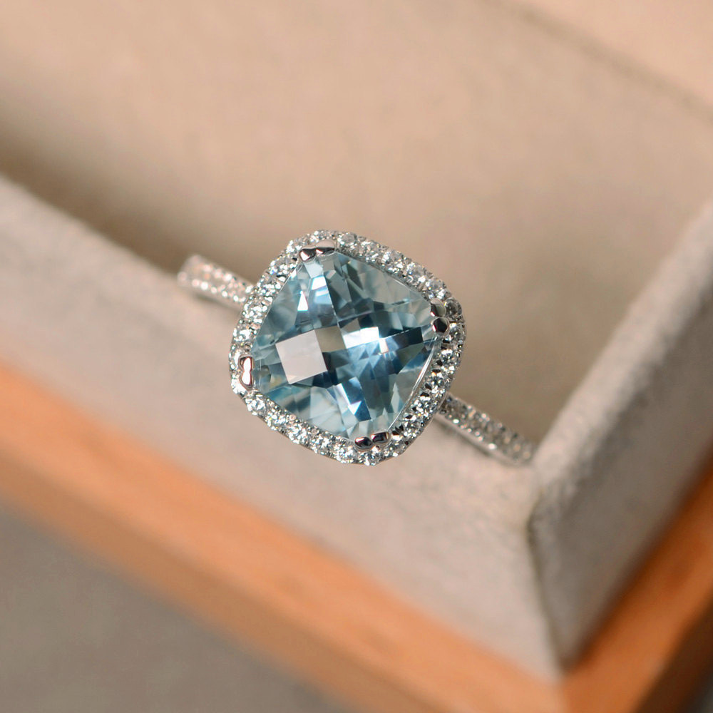 Luxury Female Natural Aquamarine Stone Ring 100% Real 925 Sterling Silver Wedding Rings For Women Promise Love Engagement Ring
