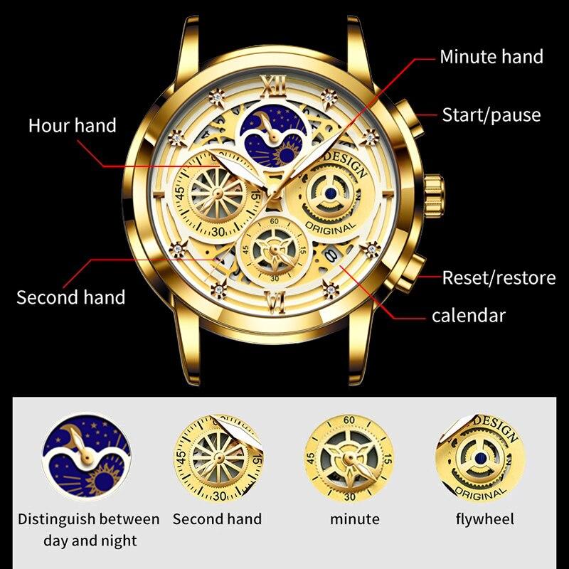 2021 Nieuwe Luik Sport Mannen Horloge Top Brand Luxe Goud Roestvrij Staal Quartz Wrsit Horloge Mannen Mode Holle Waterdicht Chronograaf 3