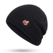 Зимние мужские вязаные шапки шарф уличные теплые бархатные унисекс новые модные брендовые шапки кожаный Стандартный комплект из кленового...