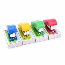 1set Stapler Candy Solid Color Plastic Fastener Paper Stapler Manual Stapler No. 10 Staples Set Color Randomly