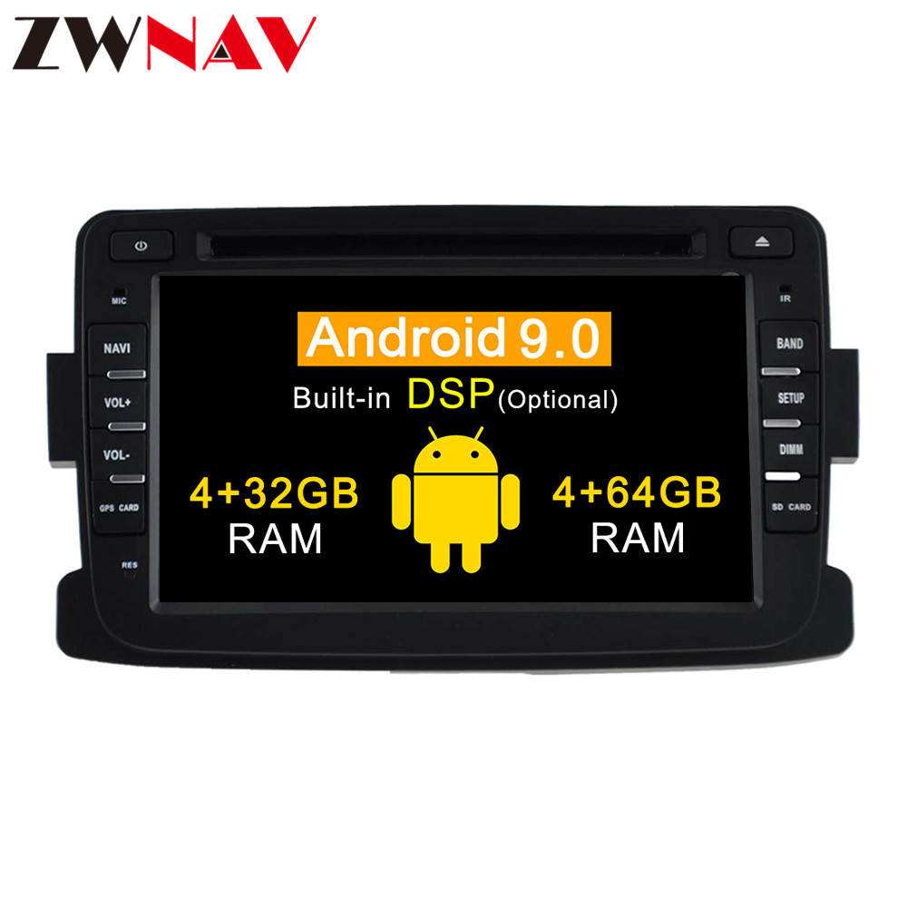 DSP 4+64 Android 9.0 Car Stereo <font><b>DVD</b></font> Player <font><b>GPS</b></font> for Dacia Sandero Duster Renault Captur Lada Xray <font><b>2</b></font> Logan Video Multimedia Radio image