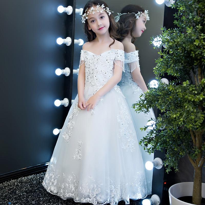 Robe de mariée pour enfants robe de princesse blanche filles Piano Costume petit hôte défilés fleur garçons/fleur filles robe de soirée Wome