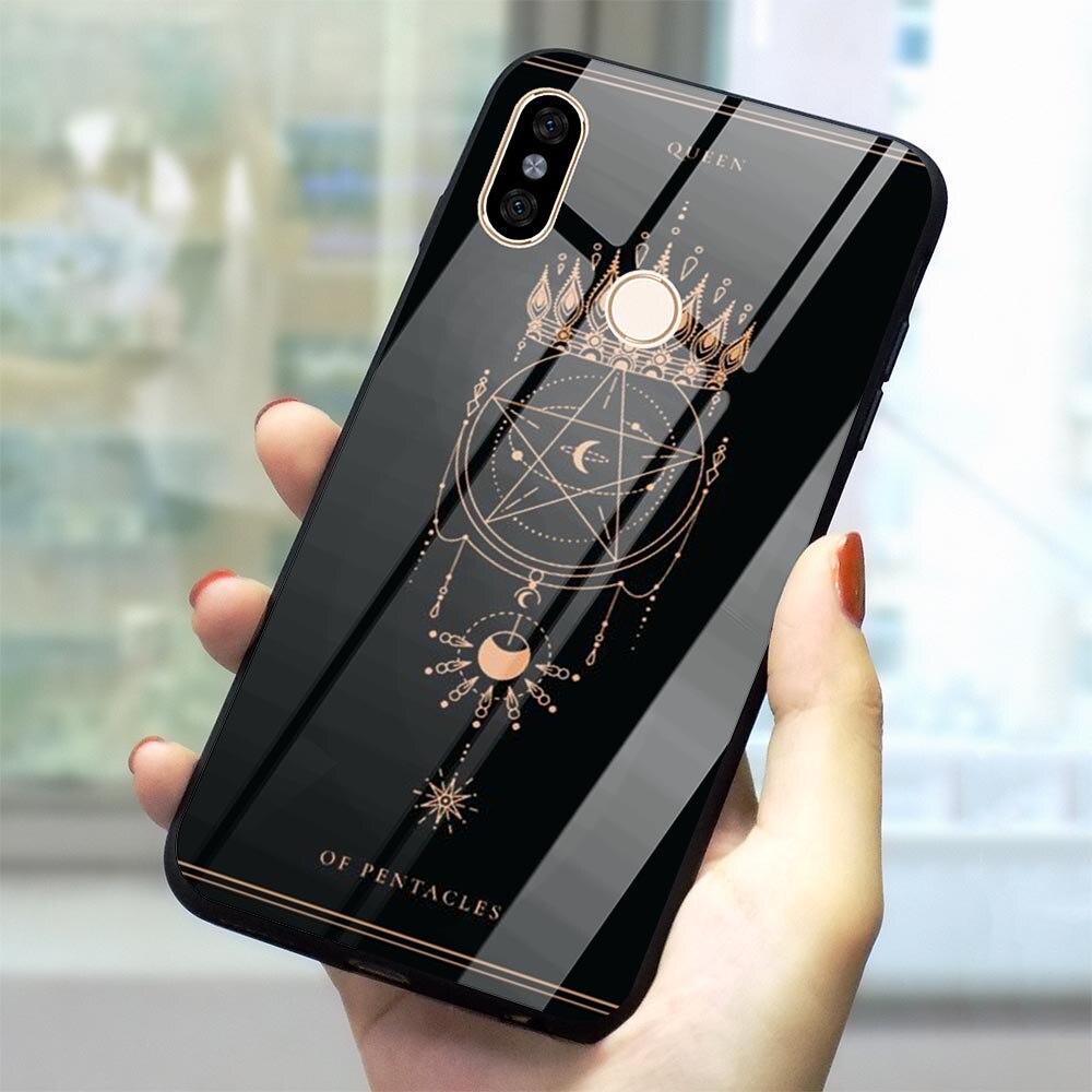 Tarot Card Tattoo, funda de vidrio templado para teléfono para Xiaomi Redmi Note 6 Pro, funda para Mi A1 A2 8 Lite 9 F1 Redmi 4X 6A Note 5 7 Pro suave