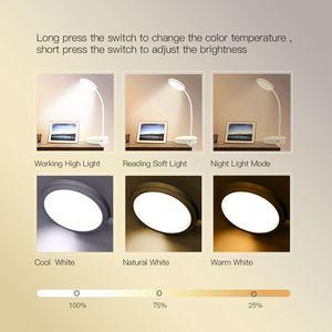 Image 3 - Usb Oplaadbare Led Klem Bureaulamp Zwanenhals Touch Dimmen Clip Op Leeslamp Voor Boek Bed En Computer 3 Kleur modi