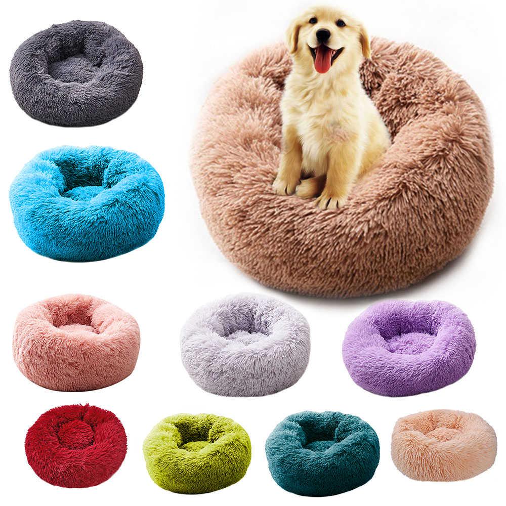 Super macio cama do cão redonda lavável longo pelúcia canil do cão casa do gato tapetes de veludo sofá para o cão chihuahua cesta do cão cama do animal de estimação