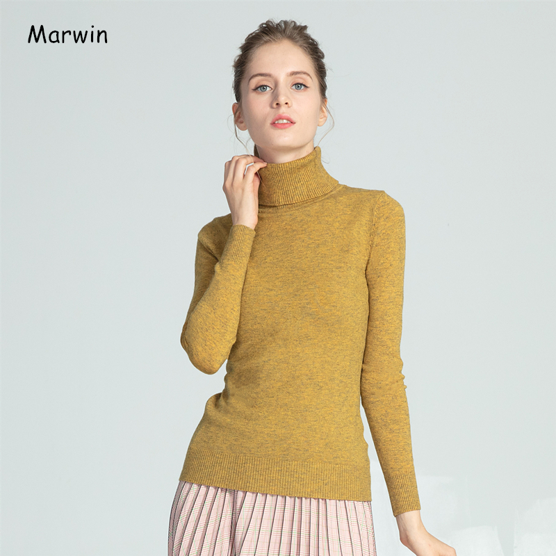 Marwin New-Coming Autumn Winter New Soft Warm Material Casual Turn-down Collar Pullovers Female Thick Turtleneck Knitted Sweater