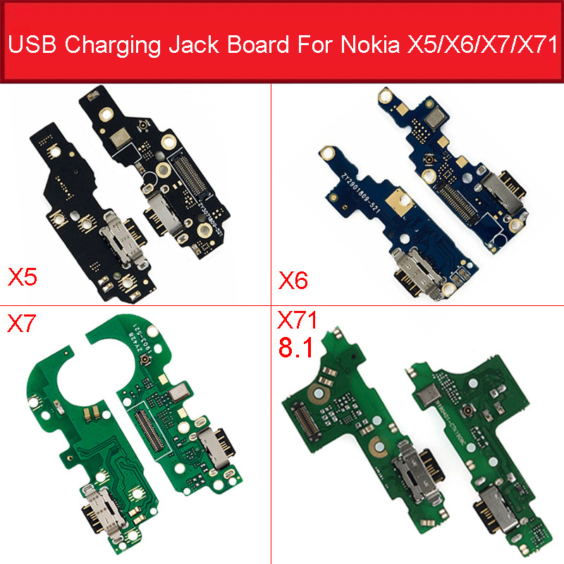 USB Charging Jack Port Microphone Connector Board For <font><b>Nokia</b></font> <font><b>8.1</b></font> 5.1 6.1 7.1 Plus X5 X6 X7 X71 <font><b>Charger</b></font> Flex Cable Repair Part image