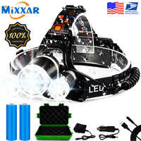 EZK20 Dropshipping T6 R5 LED Headlamp 13000LM 4 Mode Waterproof Hands-free Headlight Torch Flashlight for Biking Camping Hunting