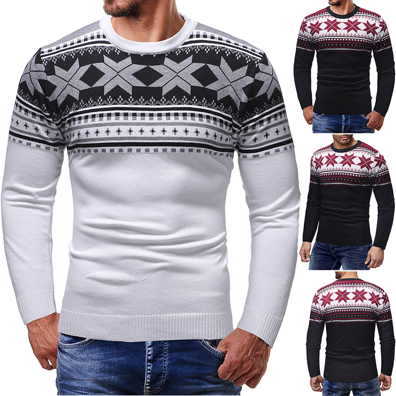 Christmas Cotton Sweater Men 2019 Autumn Winter Jersey Jumper Robe Hombre Pull Homme Hiver Pullover Men O-neck Knitted Sweaters