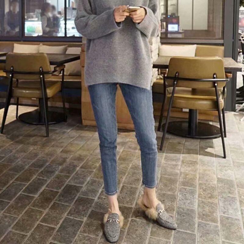 Jeans Girls Student Spring Fashion Nine-point Jeans Slim Short-legged Tight Pants Girls Show Slim Korean Pants High Waist Jeans