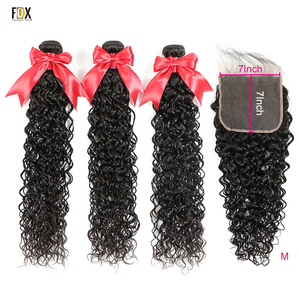 FDX 7x7 Lace Closure Water Wave Hair 3 Bundles with Closure 8-36 Inch Bundle Hair Brazilian Human Hair Remy Hair