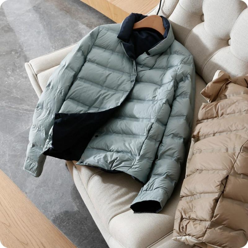 Women's Winter   Coat   Ultra Thin   Down   Jacket Long Sleeve Stand Collar Short White Duck   Down     Coats   Female Basic Woman Outwear Warm