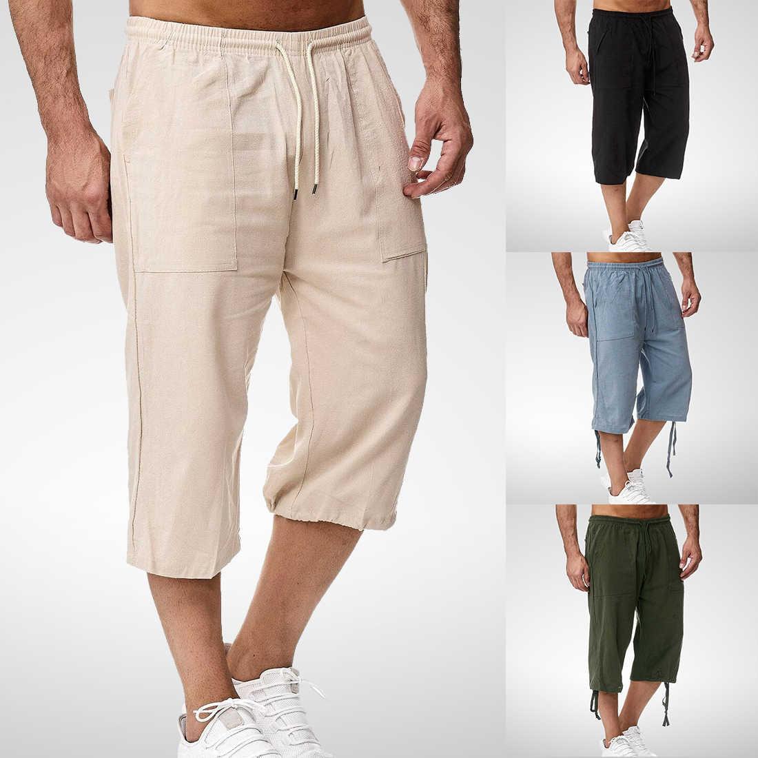 Men/'s Summer 3//4 Long Length Shorts Linen Cotton Baggy Multi Pocket Half Pants