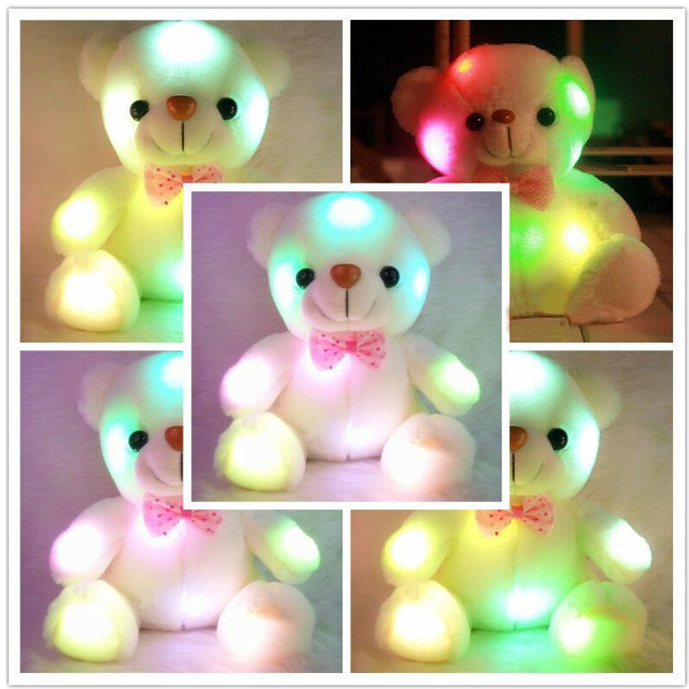 Glowing Plush Toy Cute Plush Toys Cushion Colorful Lighting Gift Colourful Colorful Glowing Bear Kids LED Popular Dolls Shining