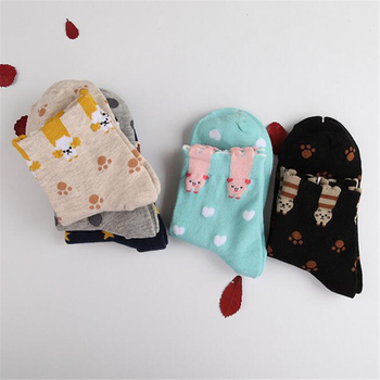 Adult Size Animal Short Socks Poodle Bichon Frise Pet Cat Panda Cute Dots Cunning Kitty Paws Pig Hearts Monkey Stars Kitten image