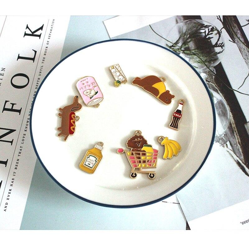 10 sztuk/paczka Handmade śliczne coke bear soda dog emalia Charms dla kolczyki bransoletki broszka DIY tworzenia biżuterii