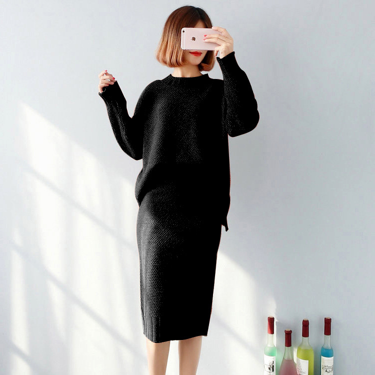 Knitted Yarn WOMEN'S Suit Autumn And Winter Korean-style Two-Piece Set Long Sleeve Crew Neck Loose-Fit Sweater + Slit Half-lengt