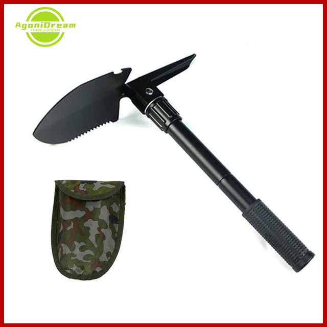 Portable Highcarbon Steel 58cm Multifunctional Military Shovel Tactical Folding  With Pouch Outdoor Camping Spade Survival Tools 1
