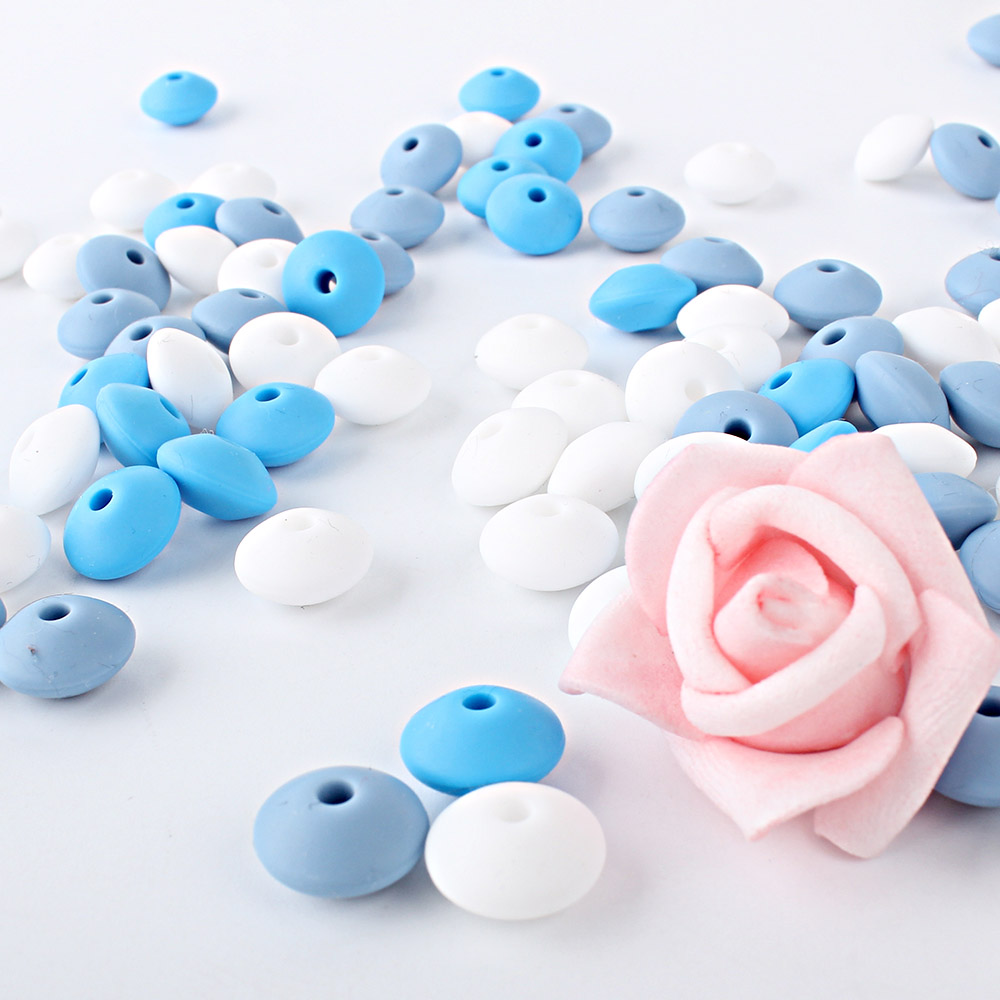 12mm 100pcs Silicone Lentil Silicone Beads Food Grade Teether Pearl Chews Pacifier Chain Clips Beads Silicone Baby Teething Toy