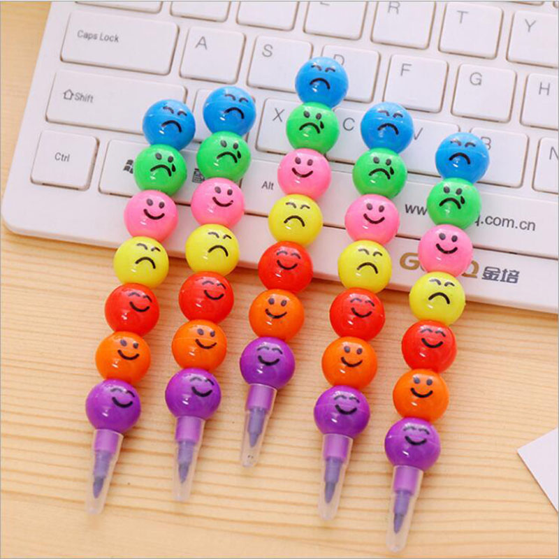 7 Colors Crayon Crayon Creative Cartoon Sugar Coated Smile Pencil Pencil Presents Children 7 Office Art Picture Color