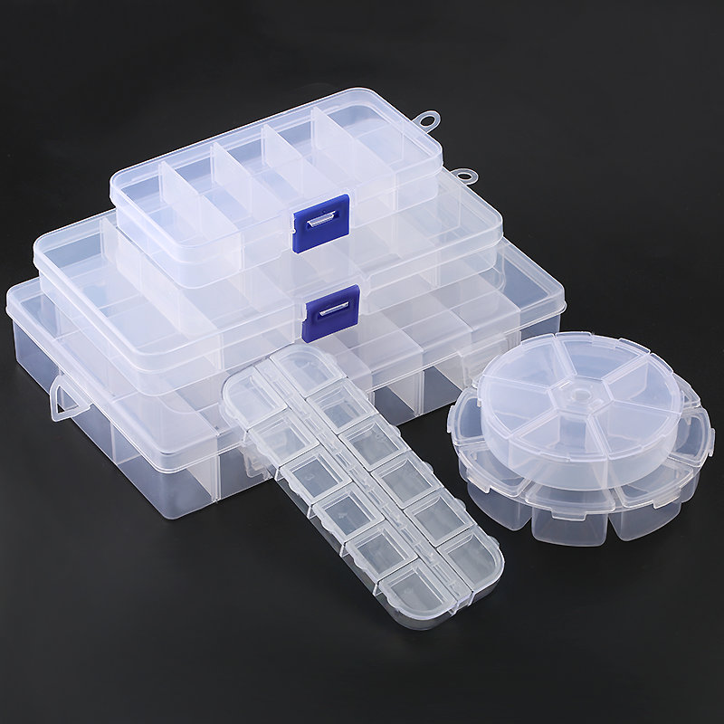 12 Sizes Plastic Storage Jewelry Box Compartment Adjustable Container Earring Box Jewelry Rectangle Box Case For Jewelry Display