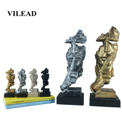 VILEAD 13.5cm 30.5cm Resin Face Mask Statuettes Silence Is Gold Abstract Art Face Creative Office Study Decoration Accessories