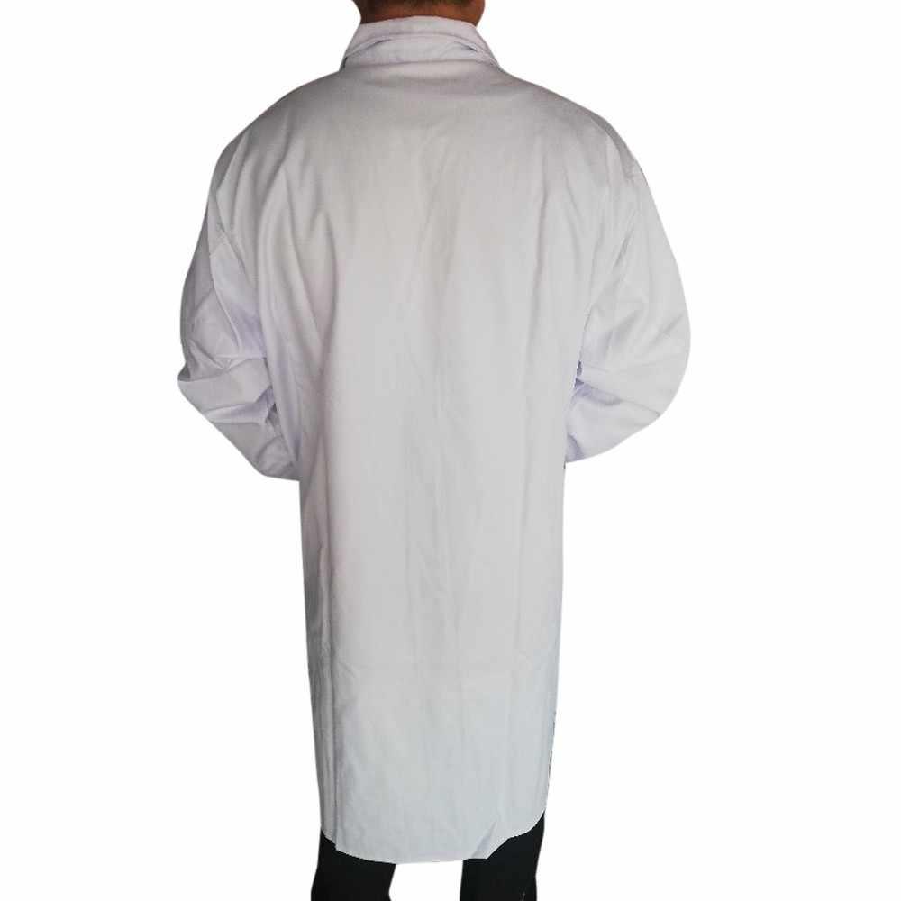 Delle donne Degli Uomini di Camice A Manica Lunga Bianco Outwear Lungo Cappotto Con Tasche Unisex Medici di Usura del Lavoro Abbigliamento Pulsante casual Cappotto outwear