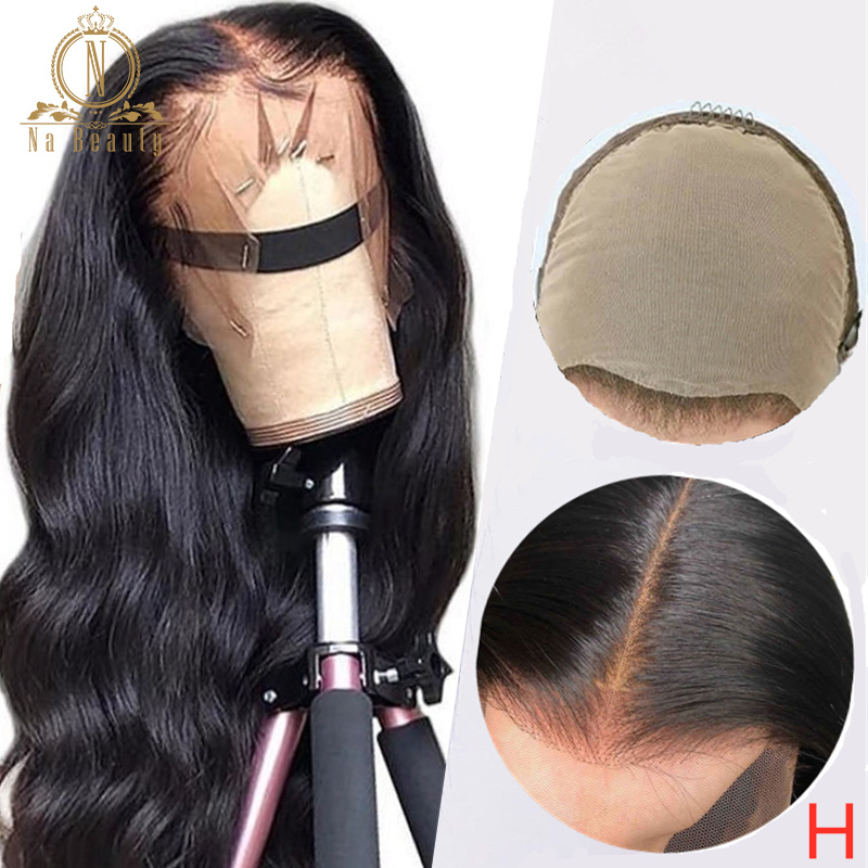 180% Fake Scalp Wig 13x6 Lace Front Invisible Knot Wig Bleached Knots Pre Plucked Body Wave Human Hair Lace Wig Remy Nabeauty