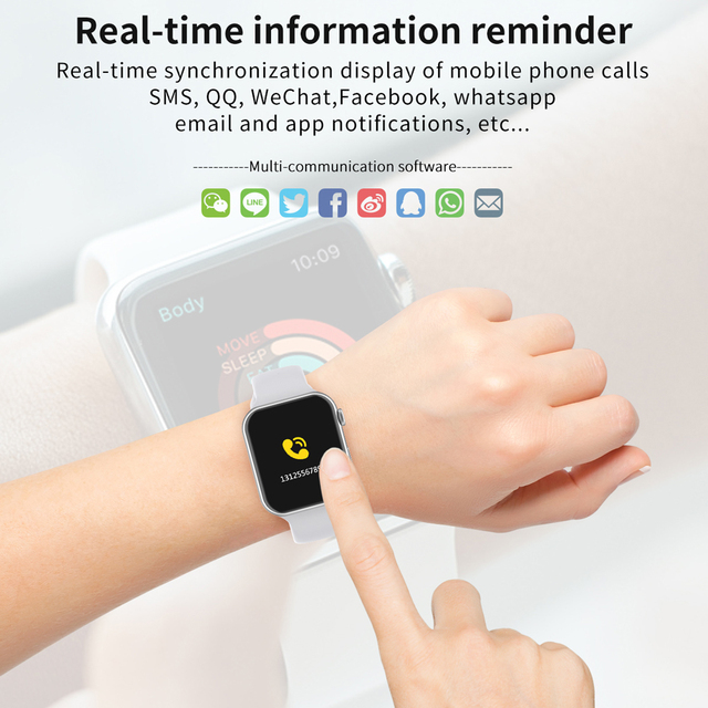 696 w nowym stylu F10 inteligentny zegarek w pełni dotykowy ekran smartwatch bluetooth muzyka aparat pulsometr wodoodporna inteligentna bransoletka