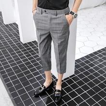 2020 Men Vintage Plaid Suit Pants Formal Dress Pan