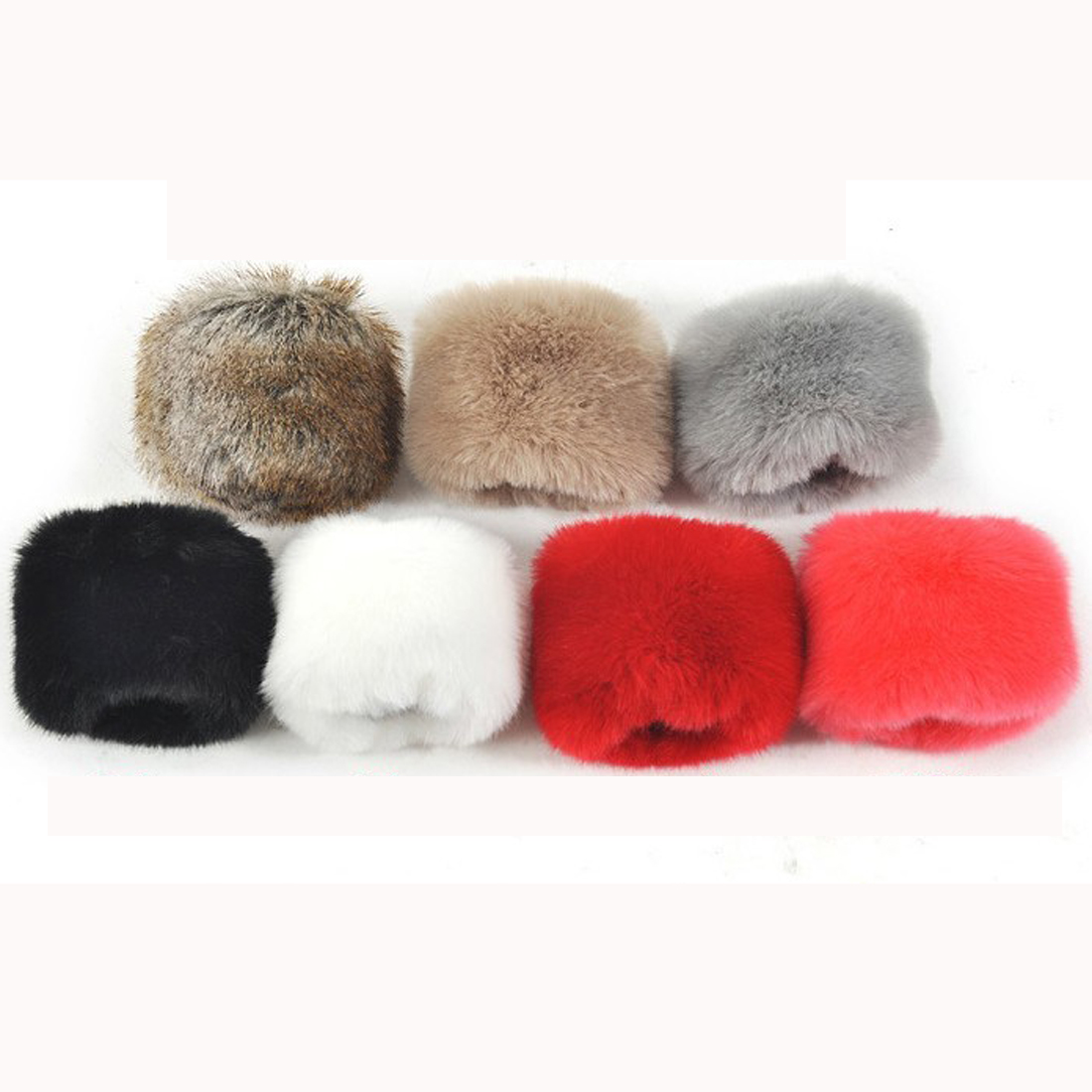 One Pair Faux Fur Plush Windproof Cuffs Wristband Winter Arm Warmer Women Thick Wrist Arms Gloves Female Elastic Oversleeve