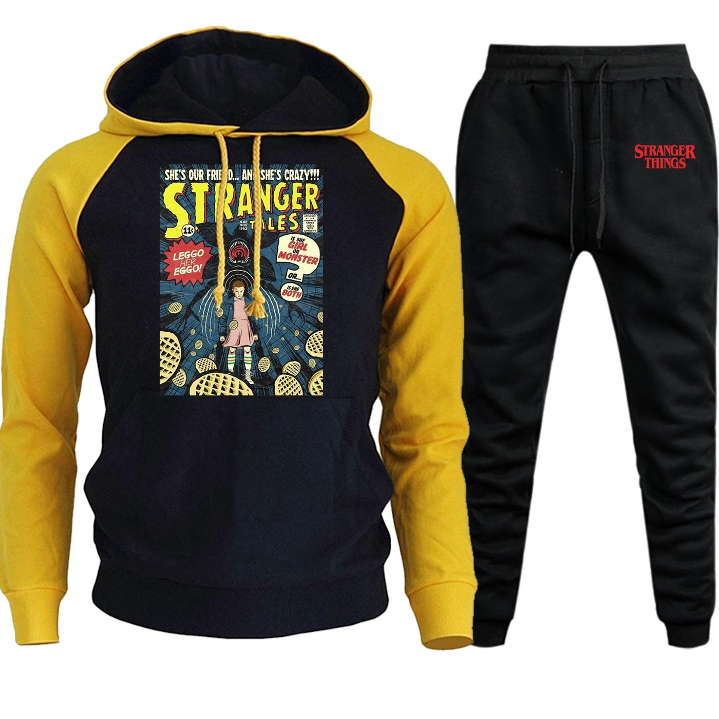 Men Hoodie Raglan Sweatshirts Stranger Things Autumn Winter New 2019 Casual Pullover Hip Hop Suit Fleece Hoody+Pants 2 Piece Set