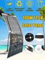 Солнечная панель 100 Вт 17 5 в Полу Гибкая солнечная панель моно элемент For12V RV лодка яхты автомобиль караван зарядное устройство