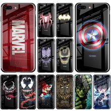 Marvel caso para iPhone 11 Pro MAX XS MAX XR 8 7 6 6s Plus X lujo luminoso de vidrio templado Samsung S8 S9 S10 más Note8 9 10 Pro(China)