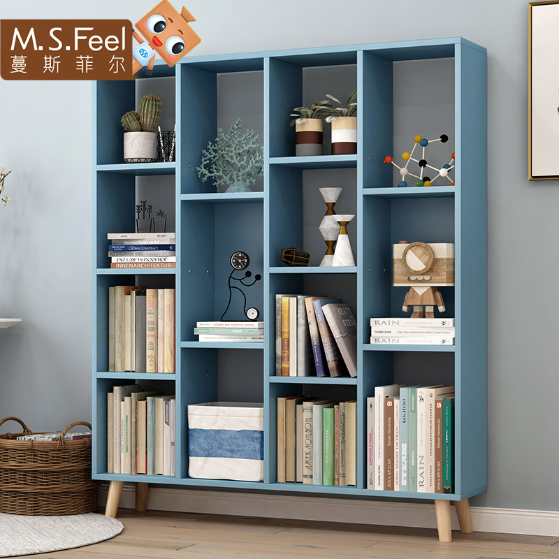 Man Patriarch European Style Bookshelf Floor Household Simplicity Storage Shelf Minimalist Modern Students Bookcase Bookshelf Of