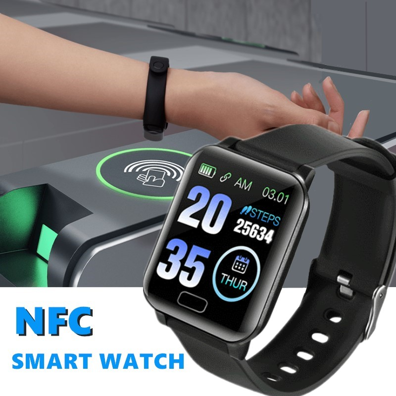 Sport Smart Watch NFC Y12 Outdoor Square Fitness Tracker Wristband For Running Cycling Swimming Sleep Monitor Apple Men Women