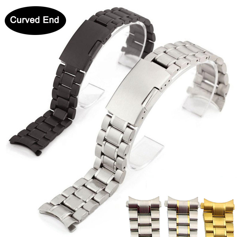 Solid Curved End 22mm 20mm Stainless Steel Watch Band Strap For Samsung Galaxy Watch Active2 46MM 44MM Black Watchband 18mm 24mm