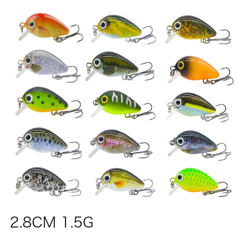 2.8cm Mini Crankbait Fishing Lure 1.5g Realist Fake Fish Floating Fishing Lures Wobbler Tackle Pesca 15 Color