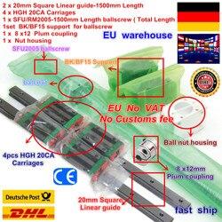 DE 2pcs Square Linear guide rails L-1500mm & 1pcs Ballscrew SFU2005-1500mm ball screw with Nut & 1set BK/B15 & Coupling for CNC