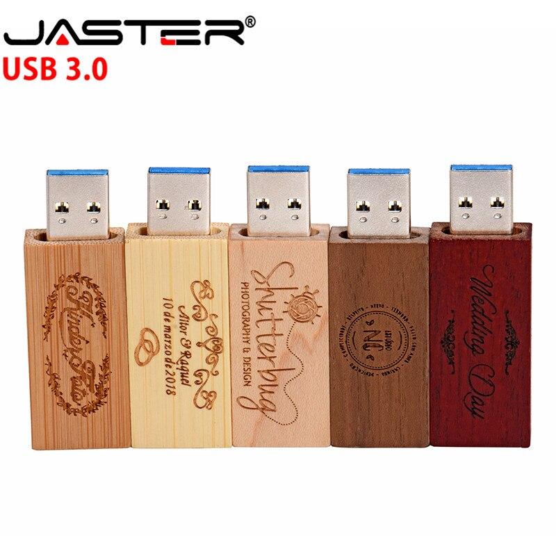 JASTER High Speed USB 3.0 Custom LOGO Wooden Memory Stick Usb Flash Drive Pendrive 4gb 8gb 16gb 32GB U Disk Wedding Gift