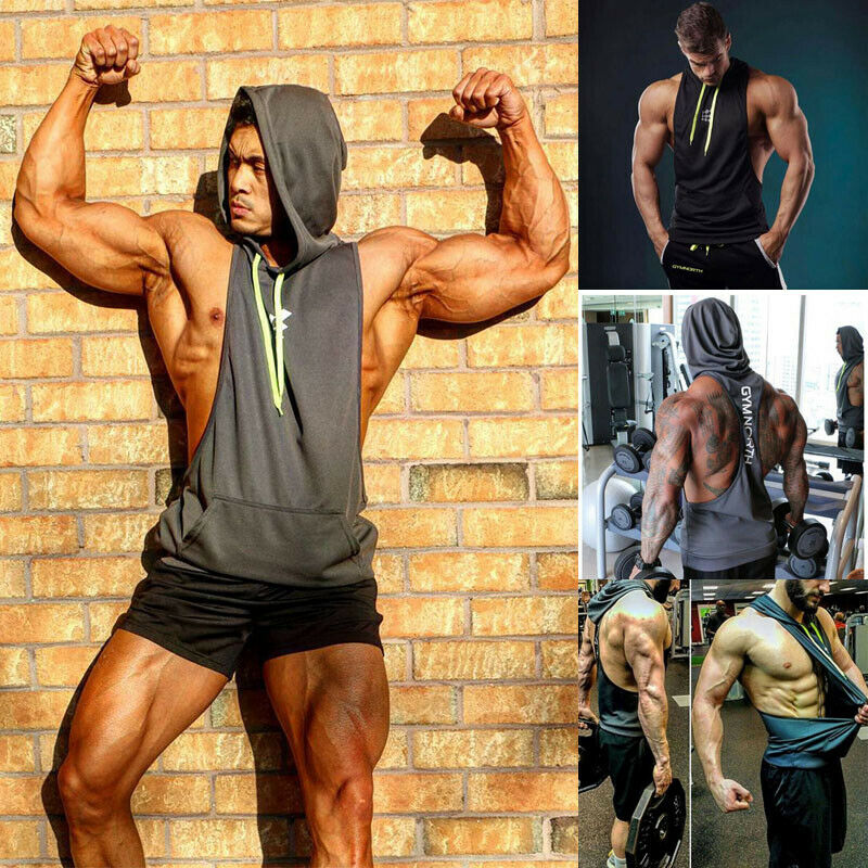 Men Sports Gym Plain Tank Top Hoodie Fitness Pullover Sleeveless Sweatshirt Vest