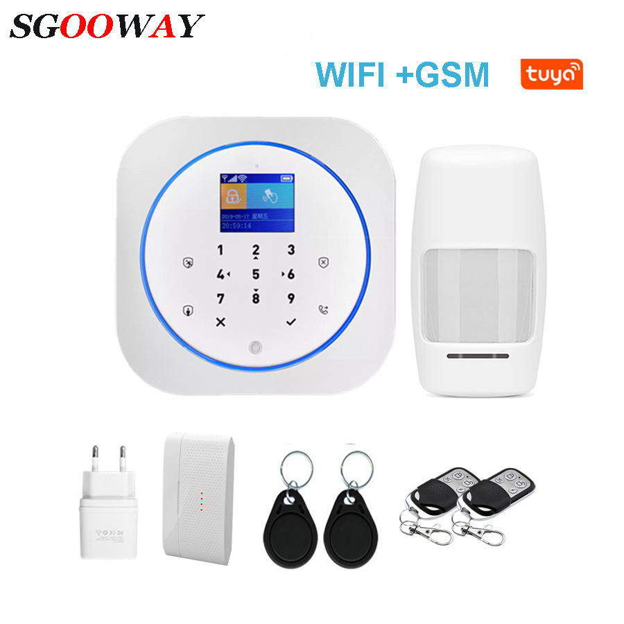 Sgooway Touch Keyboard Tuya Smart Life WIFI GSM Home Security Alarm System Wireless With IP Video Camera Alexa Google Home