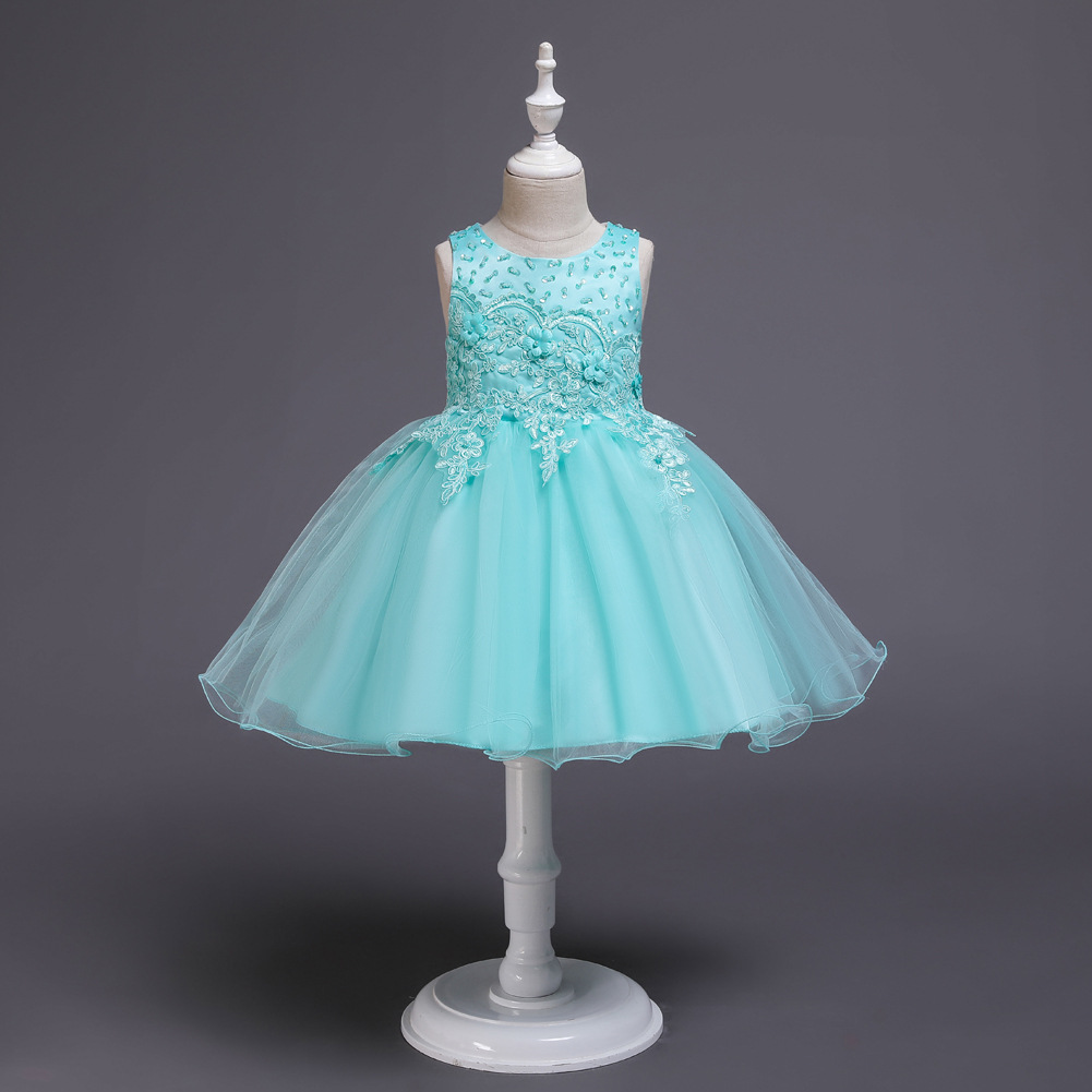 Summer New Style Girls Princess Dress Formal Dress Sleeveless Gauze Tutu Children Catwalks Formal Dress Small Host Costume