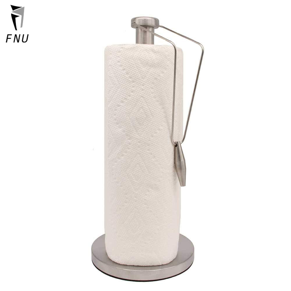 Brushed Stainless Steel Paper Towel Holder Standing Paper Towel Dispenser With Weighted Base For Kitchen Countertop And Office