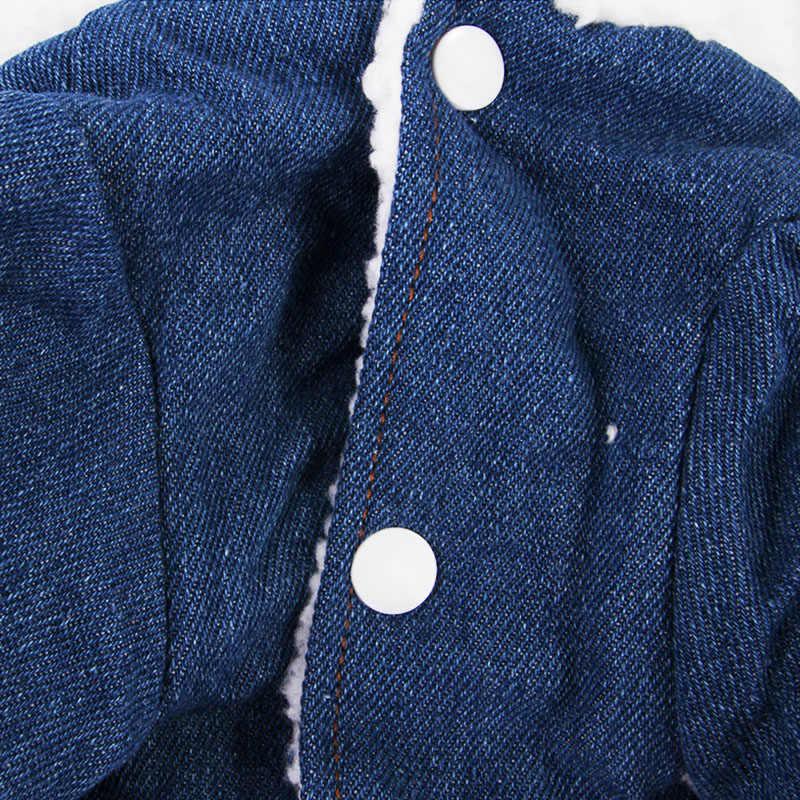 애완 동물 강아지 옷 데님 코튼 개 자켓 핑크 애완 동물 코트 겨울 두꺼운 청바지 치와와 요크 의류 따뜻한 개 의상 강아지 양복